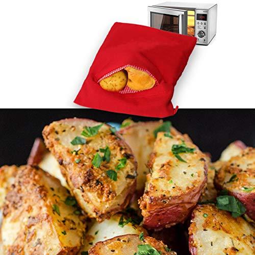 Patate Microonde Patate Pouch, Microonde Patate Bag, Sacco cuoci patate per microonde, Microonde Patata Fornello Borsa, Patate perfette Solo in 4 minuti – (Rosso) 6
