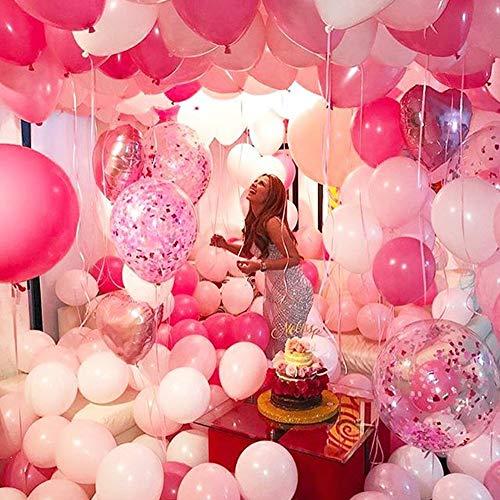 MMTX 51PZ Decorazione del Partito di Palloncini Rosa per Ragazze Inclusi Palloncini in Lattice di Colore Rosa, Bianco, Rosa Rosso, Palloncini di Nastro per Compleanno Nozze Festa San Valentino 10
