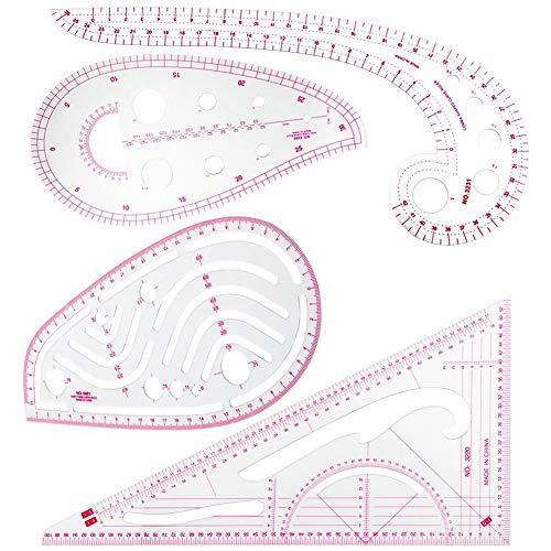 Sinblue – Set di righelli metrici a 4 stili per cucire, in plastica, righello alla moda, set per cucito, sartoria, design pieghevole, modello da disegno, abbigliamento fai-da-te