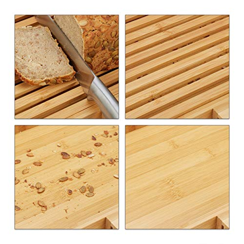 relaxdays Tagliere per Pane, con Coltello in Acciaio Inox, Raccogli Briciole, bambù, HLP 4x40x24 cm, Legno Naturale 5