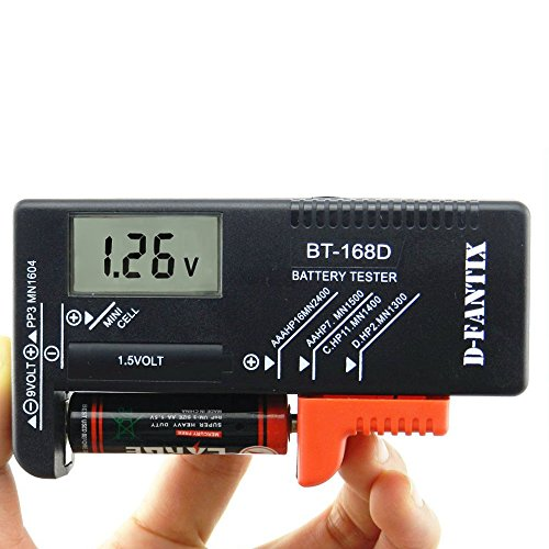 D-FantiX Tester Batterie, Tensione della batteria checker per batterie AA AAA C D 9V 1.5V Cella pulsante batterie (Modello: BT-168D)