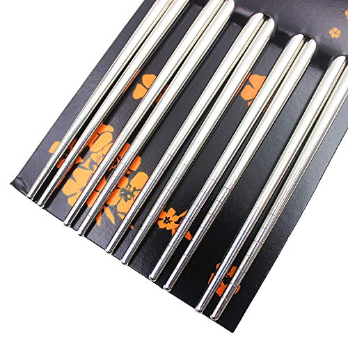 Bacchette, Chantwon 5 paia 10 pezzi Bacchette in Acciaio inox Lavabili per Piatti di Sushi o Riso, Riutilizzabili 5