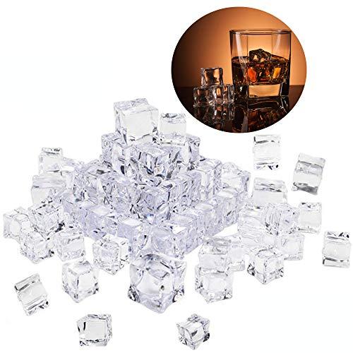 Xinlie Luminous ice Cubo Ghiaccio LED Ice Cube Adatto Cubetti di Ghiaccio Acrilico Artificiale Cubetti di Ghiaccio Finto Cubetti per la Decorazione Domestica Display per Matrimoni Vasi Fillers(60 PCS)