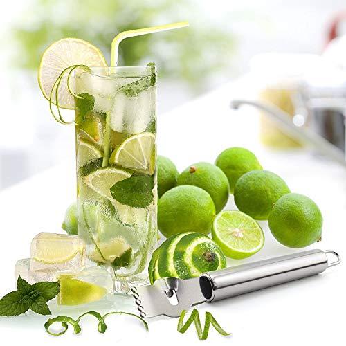 MINGZE Limone Pelatrici, Grattugia per Limoni, Limone in Acciaio Inox Zester Grattugia Arancia da Cucina per agrumi Pelapatate con Coltello a canali, Acciaio Inox 5