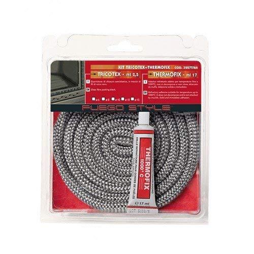Guarnizione termica alte temperature per stufa 2,5 mt camino caldaia corda con adesivo (mm 12)