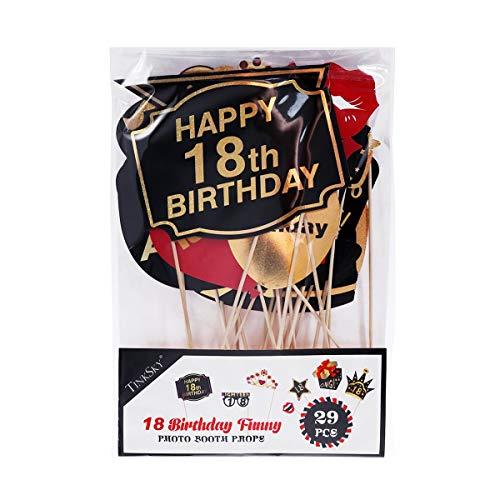 Amosfun 29 Pz 18 ° Compleanno Puntelli Foto Glitter Puntelli di Compleanno Accessori per Feste per La Decorazione della Festa di Compleanno Favori Forniture 7