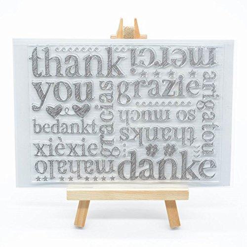 """WooYangFun Joyful Home – Timbro in gomma con scritta in lingua inglese """"Thank you"""" (lingua italiana non garantita), per creazione di biglietti, decorazioni e album di ritagli"""