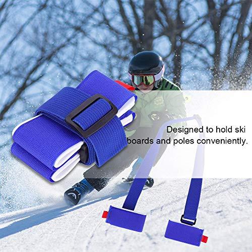 Dilwe Cinghia da Sci, Tracolla Regolabile Pettorina da Spalla con Imbottitura per Snowboard Tavola da Skateboard Tappetino per Yoga Accessori per Sport Invernali all'aperto(Blu) 10