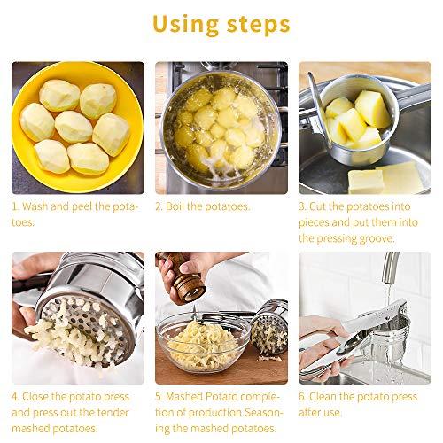 Schiacciapatate Manuale Potato Ricer in Acciaio Inox Pressa per Purè di Patate Liscie con 3 colini sostituibili per Marmellata, Verdure E Frutta 6