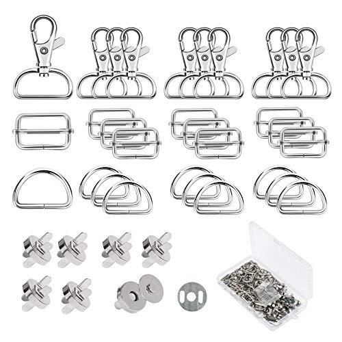 ZERHOK Snap Magnetico,16 Set Bottoni Magnetici e 16 Set Fibbia Scorrevole in Metallo Fai da Te Artigianale Cucito Bottoni per Artigianato Borse in Pelle