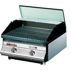 Dolcevita BBQ Euro 2 Barbecue a Gas con Valvola di Sicurezza da Incasso e Appoggio, Nero, 50x56x33 cm