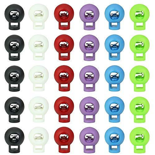 LYTIVAGEN 60 Pezzi Fermacorda a Molla in Plastica Doppio Foro per Abbigliamento, Lacci delle Scarpe, Zaini e Tenda(Nero, Bianco, Rosso, Rosa, viola, Blu) 2