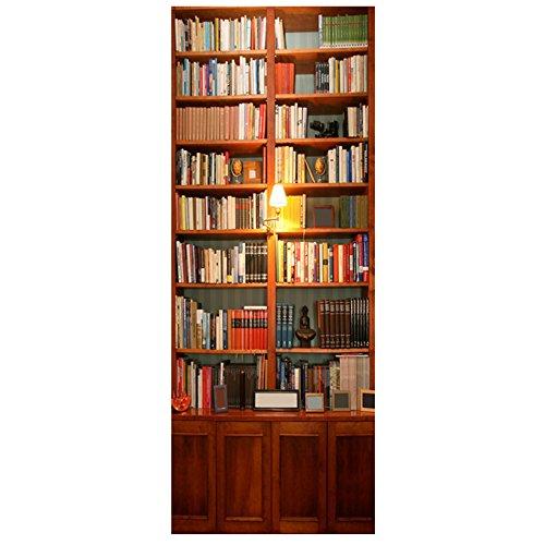 Demiawaking 2pcs Cabinet Libro Adesivo per Porte 3D Autoadesivo Impermeabile della Stanza da Punti di Pietra (38.5 * 200cm)