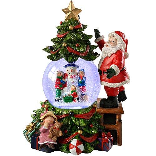 WeRChristmas, Palla di Vetro con Neve Carillon, con Babbo Natale e Albero di Natale, Cambia Colore, Decorazione Natalizia, 23cm