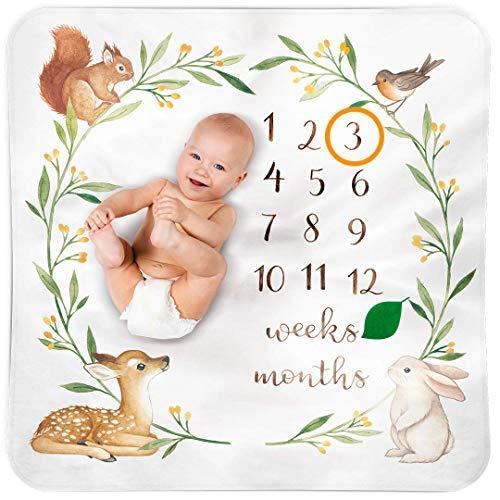 Bubzi Co Copertina neonato Milestone | Coperta neonato per decorazione cameretta – motivo bosco in acquerello | Regalo neonato e baby shower | Copertine neonati perfette per set fotografici