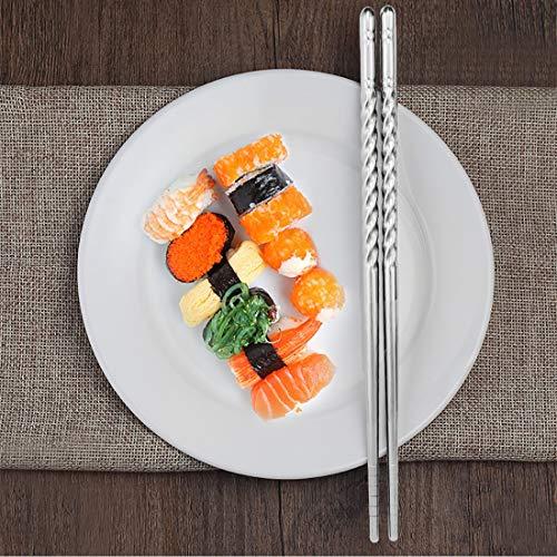 Bacchette, Chantwon 5 paia 10 pezzi Bacchette in Acciaio inox Lavabili per Piatti di Sushi o Riso, Riutilizzabili 8