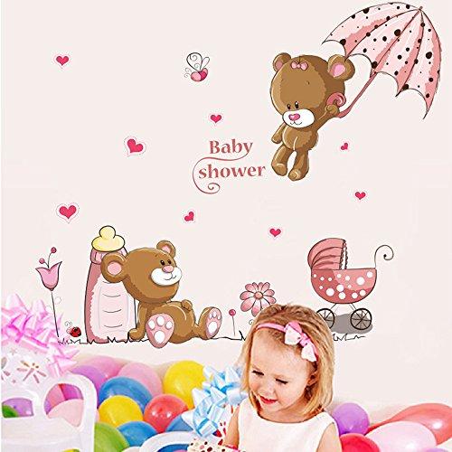 ufengke® Orsi Cute Baby e Fiori Ombrello Adesivi Murali, Camera dei Bambini Vivai Adesivi da Parete Removibili/Stickers Murali/Decorazione Murale 2