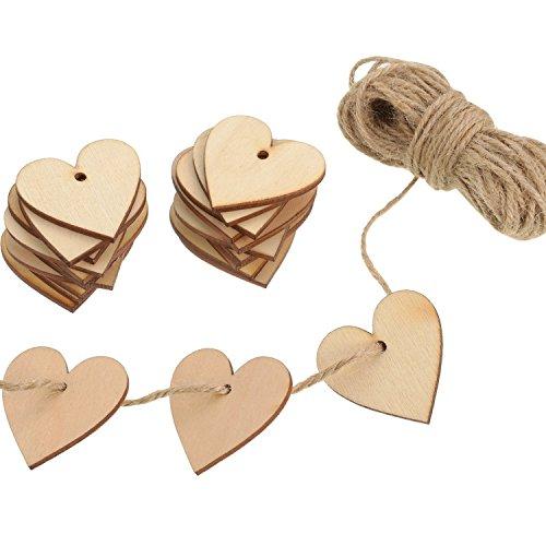 100 Pezzi Cuore di Legno Abbellimenti Cuore di Legno 40 mm con 10 m Naturale Spago per Matrimonio Fai da Te Arte Craft Card Making Decorazione di San Valentino