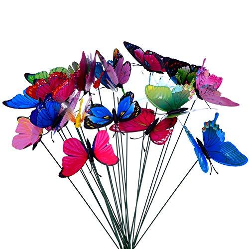 24 Pezzi Farfalle da Giardino Colorato Libellule Terrazza Ornamenti su Bastoni per Decorazione della Pianta, Giardino Esterno, Decorazione Giardino