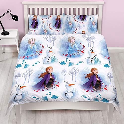 Frozen 2 Ufficiale Disney Double Anna & Elsa Design Reversibile Due Lati Biancheria da Letto con Federa Coordinata, Bianco