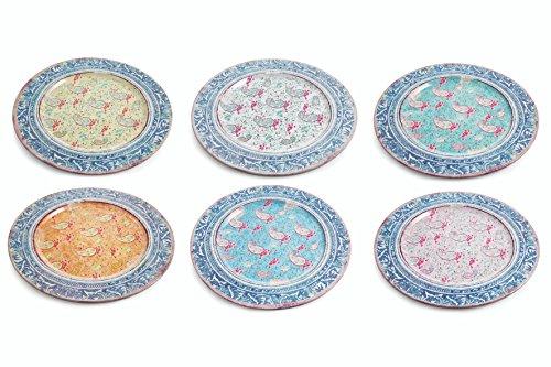 Villa d'Este Home Tivoli 2179828 Set Sottopiatti, Latta, Multicolore, 6 unità