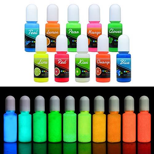 Colorante Resina Epossidica UV Fluorescente – Resina Epossidica UV Liquida Trasparente Colorare per Gioielli Fai da te e Creazioni Artistiche – Pigmenti Resina Autoilluminante per Pitturai – 10ml