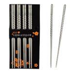 Bacchette, Chantwon 5 paia 10 pezzi Bacchette in Acciaio inox Lavabili per Piatti di Sushi o Riso, Riutilizzabili