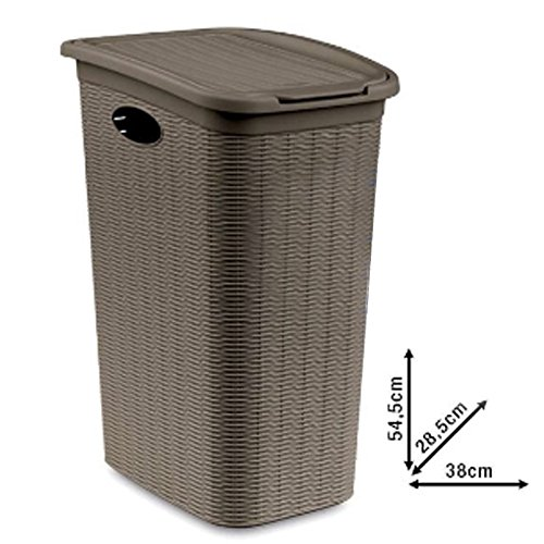 Portabiancheria effetto cesto vimini per bagno 36 LT secchio per biancheria sporca bagno Elegance della Stefanplast 2