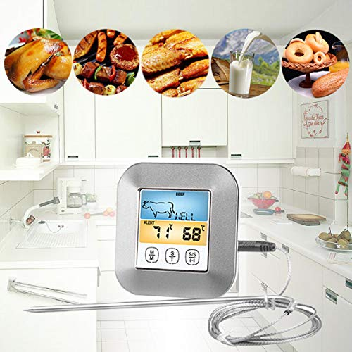 BESTONZON Color Screen Digital Food Thermometer Grill Oven Smoker Thermometer with Probe for Kitchen Cafe Restaurant Bar 9