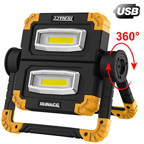 RUNACC LED Lampada da Lavoro USB Ricaricabile Lampada Emergenza Faro LED Portatile Emergenza Faretto Pieghevole Faro da lavoro Lampada Esterni con Rotazione a 360 °