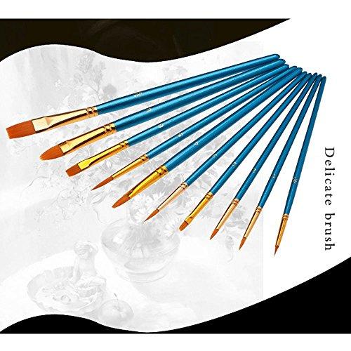 10Pennelli, 2tavolozza, Premium Nylon pennelli per acquerello, acrilico e olio ecc perfetto set di pennelli per principianti, per bambini, ARTISTA e amante della Pittura Pittura Pennello 8