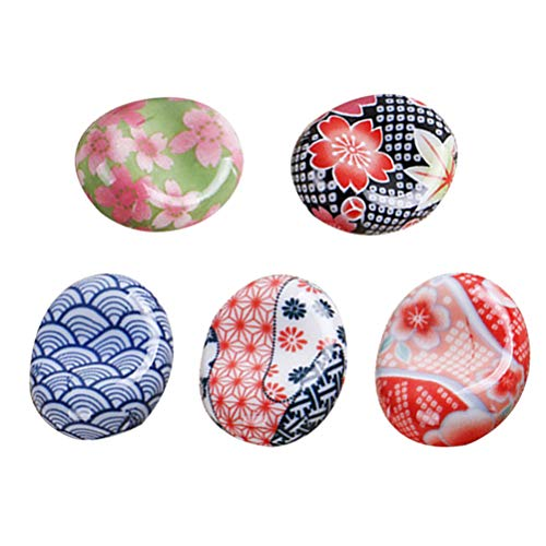 BESTONZON 5 pezzi bacchette di ceramica resto in stile giapponese bacchette Sakura cuscino cucchiaio cucchiaio forchetta coltello (modello casuale) 3
