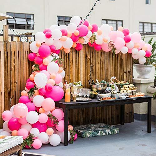 MMTX 51PZ Decorazione del Partito di Palloncini Rosa per Ragazze Inclusi Palloncini in Lattice di Colore Rosa, Bianco, Rosa Rosso, Palloncini di Nastro per Compleanno Nozze Festa San Valentino 7