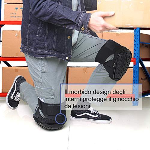 Vuino professionale con imbottitura in schiuma EVA ginocchiere con comodo cuscino in gel e cinghie regolabili per lavoro, Gardning, pulizia, pavimenti, piastrelle e costruzione