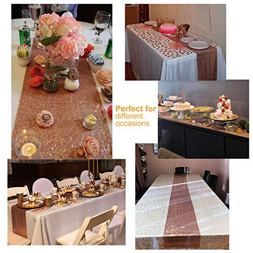 MengH-SHOP Runner da Tavolo con Paillettes Tovaglia Glitter Rettangolare per la Decorazione di Banchetti di Matrimonio Oro Rosa 30 * 280 cm 5