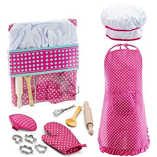Queta 11Pcs / Set Strumenti di Cottura per Bambini, Grembiule da Cucina Gioco da Cucina Set Pretend Gioco Toy Gift for Girls