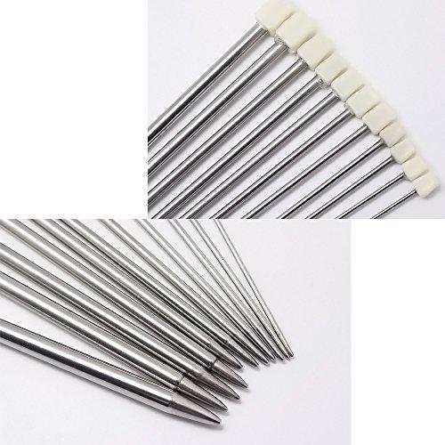 Hysagtek – Set di 22 ferri da maglia a punta singola, in acciaio INOX, con custodia, dimensioni assortite da 2,0 a 8,0 mm (11 paia, 11 misure) 3