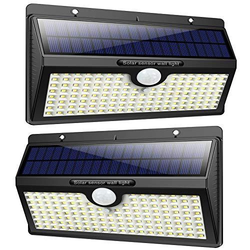 Luce Solare Led Esterno, Feob?2500 mAh?138 LED Lampada Solare con Sensore di Movimento Luci Solari da Parete Impermeabile IP65 Luci di sicurezza Solare LED con 3 Modalità-[2 Pezzi]