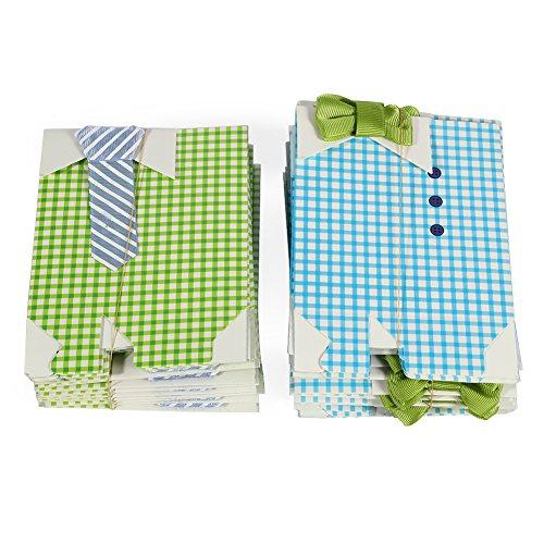 LinTimes 50 Pezzi My Little Man Scatole bomboniere Ragazzo Baby Shower Scatole bomboniere con Fiocco Verde Blu Nastro di Carta Sacchetti di Caramelle per Percalle Decorazioni per Feste Forniture 7