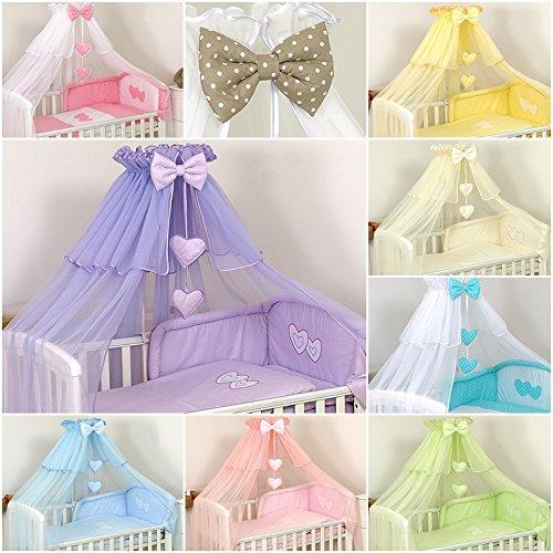 Lusso 11 pezzi Set di biancheria Cuore Ricamato per letto per bambini cuscino paracolpi baldacchino