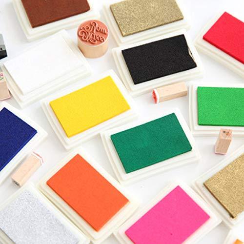 iwobi 15 Colori Tamponi per Timbri Bambini,Tampone di Inchiostro per Carta Artigianale Tessuto,DIY Artistica,Scrapbook,Impronte Digitali 9