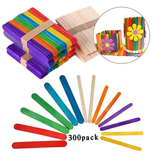 VABNEER Bastoncini Lecca-Lecca Colorati in Legno Bastoncini Art Lollipop 200Pcs Bastoncini di Legno Colorati + 100 PCS Bastoncini in Legno Naturale per Bambini