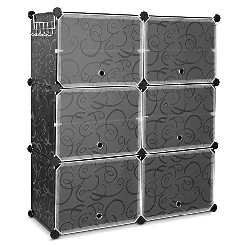 Homfa Armadio Scarpiera fai da te di plastica cubo scaffali con ganci 10 scomparti e 6 porte Nero 80X30X91Cm