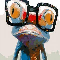 Fuumuui Fai-da-Te Fai-da-Te Pittura a Olio su Tela Regalo per Adulti Bambini dipingere da Numero Kit Decorazioni per la casa -Rana 16 * 20 Pollici