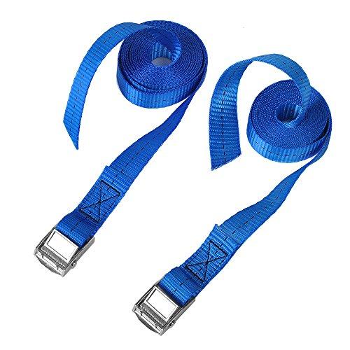 CSTOM 2x 250kg Cinghie di Fissaggio con Fibbia Tensionamento Rapido – 2.5m x 25mm, Blu