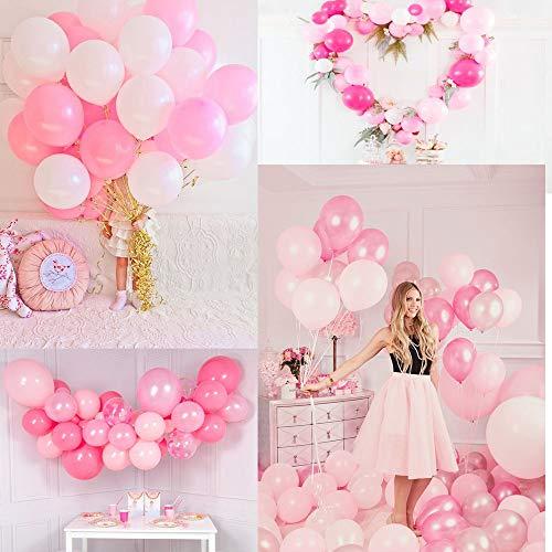 MMTX 51PZ Decorazione del Partito di Palloncini Rosa per Ragazze Inclusi Palloncini in Lattice di Colore Rosa, Bianco, Rosa Rosso, Palloncini di Nastro per Compleanno Nozze Festa San Valentino 9