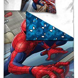 AYMAX S.P.R.L Spiderman Copripiumino Reversibile 140x 200cm + Federa 63x 63cm 100% Poliestere, Microfibra, Rosso, 200x 140cm