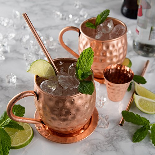 Bicchiere di Rame Moscow Mule – Fatto a Mano in Rame Puro al 100% – Bicchiere da 500 Grammi a Forma di barile con Effetto martellato in Confezione Regalo 9