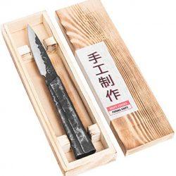 Forged Brute – Coltello spelucchino, 9 cm, realizzato a mano, in scatola di legno