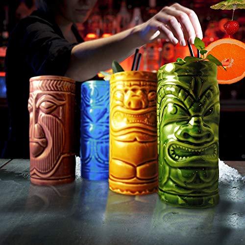 MikaMax – Tiki Mugs Set – Bicchierini Tiki Set di 4 – Tiki Cocktail Mai Tai – Bicchieri da Cocktail – Cocktail Tiki — Tazze in Ceramica – 29 x 8 x 15 cm – Tiki Drinks – Cocktail Glasses 5